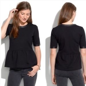 Madewell Peplum Top with Leather Trim In Black
